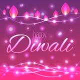Vector иллюстрация украшенной освещенной предпосылки для Diwali Стоковая Фотография RF