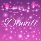 Vector иллюстрация украшенной предпосылки для Diwali с светлыми гирляндами Стоковое Фото