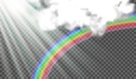 Vector иллюстрация лучей солнца, радуга после дождя, облаков шторма на прозрачной предпосылке бесплатная иллюстрация