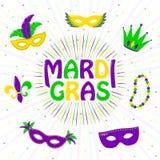 Vector иллюстрация фиолетовой, желтой, зеленой поздравительной открытки марди Гра Стоковое Изображение