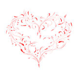 Vector иллюстрация флористического красного изолированного сердца валентинки Стоковые Изображения RF