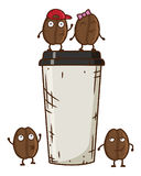 Vector иллюстрация характера кофейного зерна с кофейной чашкой Кофейные зерна танцев шаржа Стоковая Фотография