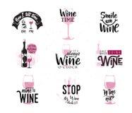 Vector иллюстрация цитаты питья связанной вином типографской иллюстрация штока