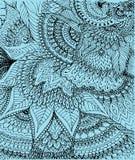 Vector иллюстрация чертежа на свете - голубой предпосылки doodle Стоковая Фотография