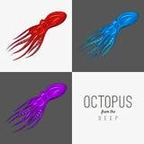 Vector иллюстрация чертежа осьминога с завивая щупальцами Стоковая Фотография RF