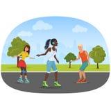 Vector иллюстрация человека и женщин свертывая коньки в парке Стоковое Изображение