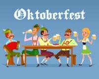 Vector иллюстрация шаржа смешных людей выпивая пиво во время фестиваля Oktoberfest пива иллюстрация штока