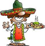 Vector иллюстрация шаржа счастливого мексиканского положения с некоторой едой Tarco Стоковая Фотография RF