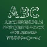 Vector иллюстрация шрифта сделанного эскиз к мелом на классн классном Стоковое Фото