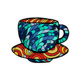 Vector иллюстрация эскиза, рука нарисованная чашка горячего питья иллюстрация вектора