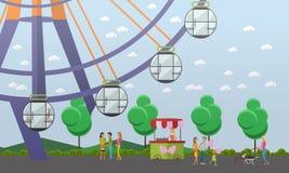 Vector иллюстрация элемента дизайна концепции парка атракционов, плоского стиля Стоковые Фото