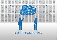 Vector иллюстрация людей значка для вычислять облака Стоковая Фотография RF