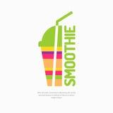 Vector иллюстрация smoothie, с стеклом и соломой Стоковые Фото
