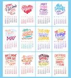 Vector календарь на месяцы 2 0 1 8 Нарисованная рука помечающ буквами цитаты для дизайна календаря Стоковые Фото