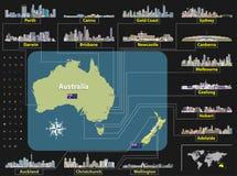 Vector карта Австралии и Новой Зеландии с горизонтами самого большого города Стоковые Фото
