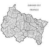 Vector карта зоны грандиозного Est, Франции Стоковые Изображения