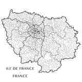 Vector карта зоны Иль-де-Франс, Франции Стоковые Изображения