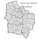 Vector карта зоны Hauts de Франции, Франции стоковое изображение rf