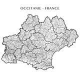 Vector карта зоны Occitanie, Франции Стоковые Фото