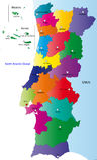 Vector карта Португалия Стоковые Изображения