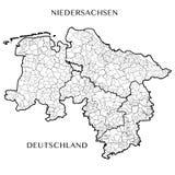 Vector карта федеративного государства более низкой Саксонии, Германии Стоковое Фото