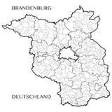 Vector карта федеративного государства Бранденбурга, Германии Стоковое фото RF