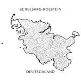 Vector карта федеративного государства Шлезвиг-Гольштейна, Германии Стоковая Фотография RF