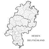 Vector карта федеративного государства Hesse, Германии Стоковая Фотография