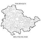 Vector карта федерального освободившееся государство тюрингии, Германии Стоковая Фотография