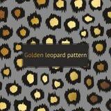 Vector картина леопарда с золотом на серой предпосылке Декоративная предпосылка для дизайна поверхностей, крышек, плакатов, знаме Стоковое Фото