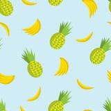 Vector картина лета безшовная с ананасами и бананами на th Стоковая Фотография