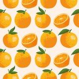 Vector картина лета с апельсинами, цветками и листьями Безшовный дизайн текстуры Стоковая Фотография