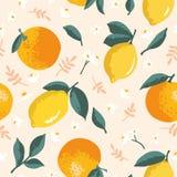 Vector картина лета с лимонами, апельсинами, цветками и листьями Стоковые Изображения RF