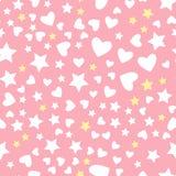 Vector картина звезды и сердца безшовная изолированная на розовой предпосылке иллюстрация штока