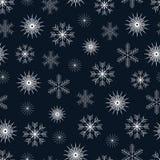 Vector картина зимы безшовная с различными белыми снежинками Стоковое Изображение