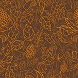 Vector картина листьев осени, ягод, лезвий травы, конусов, элементов осени жолудей и шаблонов русый, апельсин иллюстрация вектора