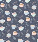 Vector картина кружек чая и кофе с элементами завода иллюстрация на серой предпосылке иллюстрация штока