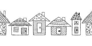 Vector картина нарисованная рукой безшовная, декоративные стилизованные черно-белые ребяческие дома Стиль эскиза Doodle, графичес иллюстрация вектора
