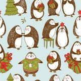 Vector картина рождества безшовная с пингвинами нарисованными рукой Стоковые Изображения
