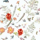 Vector картина с цветками поля в винтажном стиле Стоковое Изображение