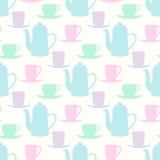 Vector картина с чайниками, кружками чая и кофейными чашками Стоковое Изображение