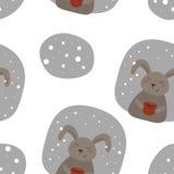 Vector картина с шаблонами кролика и чашки Printable Стоковое фото RF