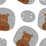 Vector картина с шаблонами медведя и чашки Printable Стоковая Фотография RF