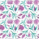Vector картина watercolour флористическая безшовная, чувствительные цветки, зеленый цвет, бирюза и розовые цветки Стоковые Изображения