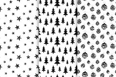 Vector картина xmas с деревьями черноты рождества и звездами, игрушками бесплатная иллюстрация