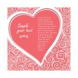 Vector карточка в форме сердца на предпосылке розы богато украшенной картины Конструируйте приглашение свадьбы, ` s валентинки пр Стоковые Изображения