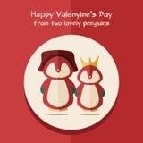 Vector карточка дня Валентинов с иллюстрацией 2 красных пингвинов в круглой рамке Стоковые Изображения RF