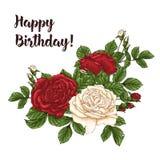 Vector карточка с белизной сада и красными розами и цветками тюльпана на белой предпосылке Романтичный дизайн для естественных ко Стоковая Фотография