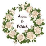 Vector карточка с белизной сада и красными розами и цветками тюльпана на белой предпосылке Романтичный дизайн для естественных ко Стоковое фото RF