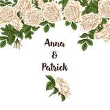 Vector карточка с белизной сада и красными розами и цветками тюльпана на белой предпосылке Романтичный дизайн для естественных ко Стоковые Фотографии RF